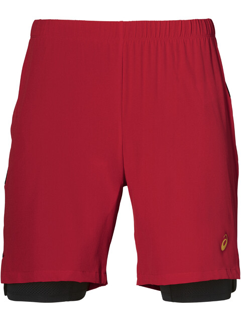asics 2-N-1 Pantalones cortos running Hombre, classic red
